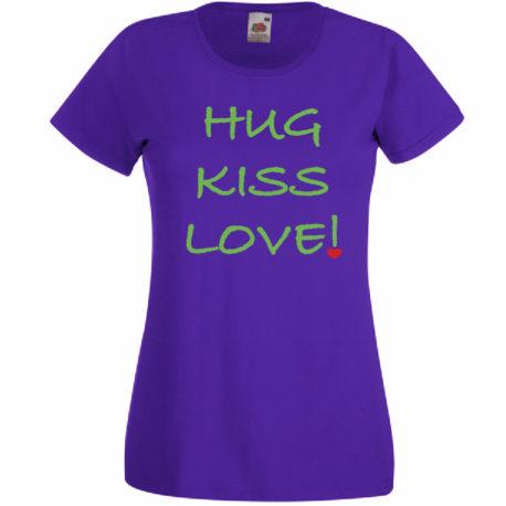 T-SHIRT HUG KISS LOVE DONNA by MammAlternatiVeg