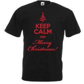 T-SHIRT KEEP CALM AND MERRY CHRISTMAS UOMO BAMBINO