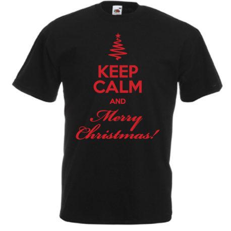 T-SHIRT KEEP CALM AND MERRY CHRISTMAS UOMO BAMBINO